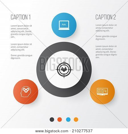 SEO Icons Set. Collection Of Intellectual Process, Focus Group, Digital Media And Other Elements