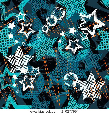 Abstract grunge star pattern children for girls and boys. Creative the background with dots, hearts, lines, stars.Funny wallpaper for textile and fabric. Fashion star style. Colorful bright.