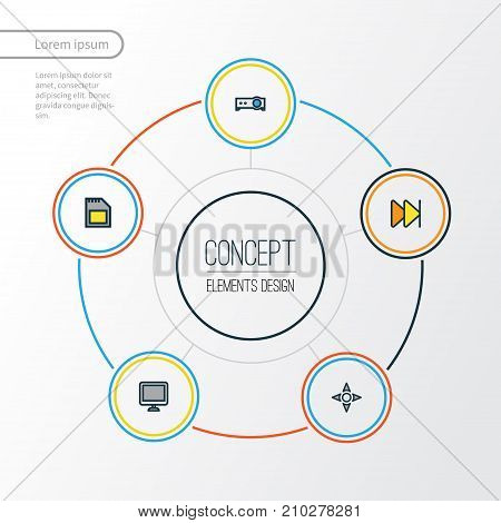 Multimedia Colorful Outline Icons Set. Collection Of Screen, Forward, Presentation And Other Elements