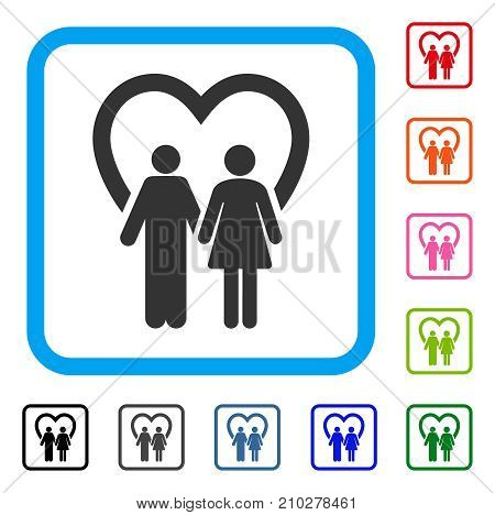 Marriage icon. Flat gray pictogram symbol in a light blue rounded rectangular frame. Black, gray, green, blue, red, orange color versions of Marriage vector. Designed for web and app user interface.