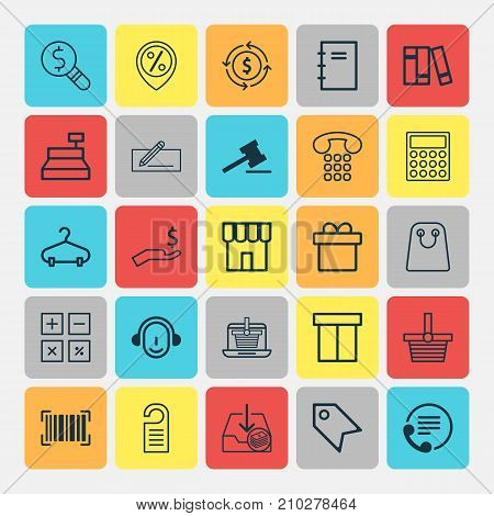 E-Commerce Icons Set. Collection Of Till, Employee, Finance And Other Elements