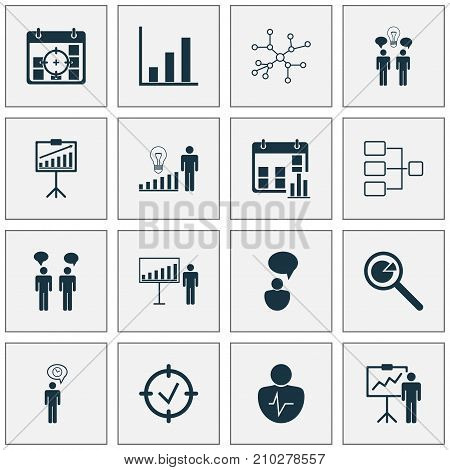 Authority Icons Set. Collection Of Approved Target, Decision Making, Bar Chart And Other Elements