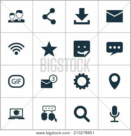 Social Icons Set. Collection Of Down Arrow, Wireless Connection, Gear And Other Elements