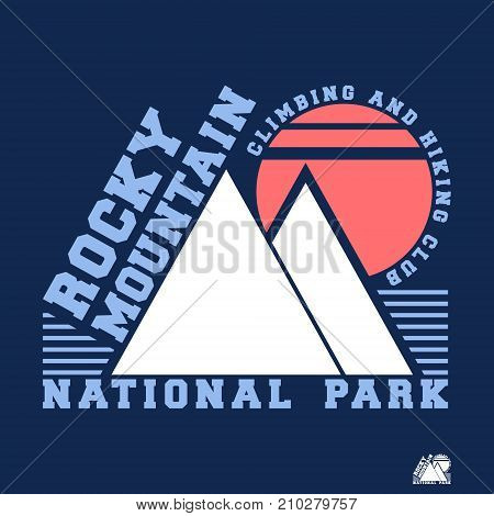 T-shirt print design. Rocky mountain vintage stamp. Printing and badge applique label t-shirts jeans casual wear. Vector illustration.