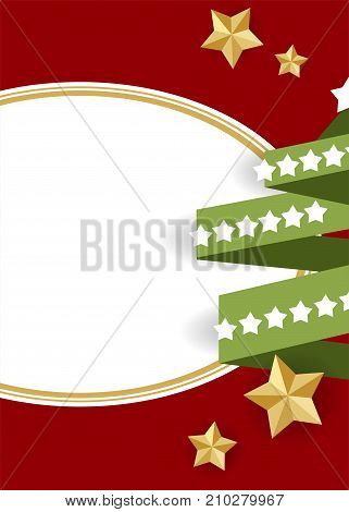 Red vector illustration template. Winter seasonal new year greeting card. Green tree Xmas garland lights. Material flat style. Festive shimmer star. Traditional Christmas ball mockup background.