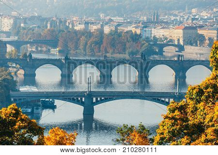 View Of Charles Bridge And Vltava River In Prague, Czech Republic