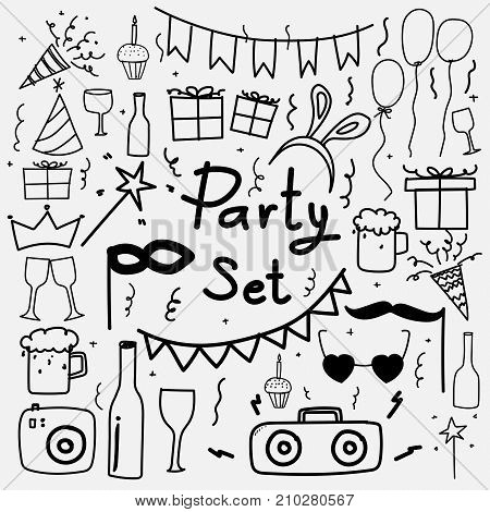Hand Drawn Doodle Party Set. Vector Illustration.