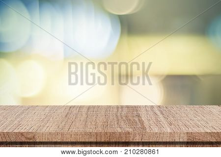 Empty table over blur festive bokeh background product display template