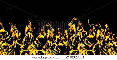 fire flame with sparks on a black background