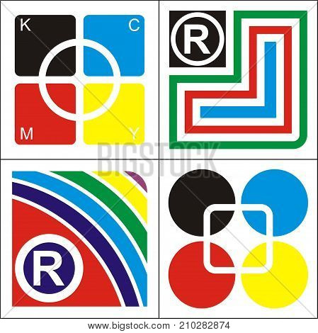 modern company logo design consists of overlapping boxes, circles, triangles, bright colors and rainbows