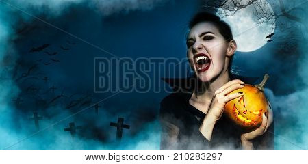 Screaming Vampire Fangs Female And Hopding Halloween Grinning Face Pumpkin Mystery Background, On Fu