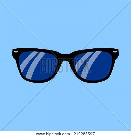 Realistic sunglasses on a blue background, Flat design Vector Illustration EPS