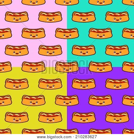 Seamless pattern set with Hot dog cute fast food kawaii characters on colors backgrounds. Flat design Vector Illustration eps
