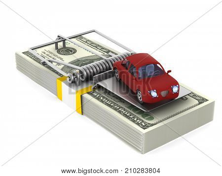 mousetrap and car on white background. Isolated 3D illustration