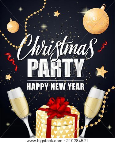 Christmas Party Happy New Year lettering with gift box, champagne flutes and baubles. Holiday, celebration, festivity. Party concept. Can be used for greeting card, poster and leaflet