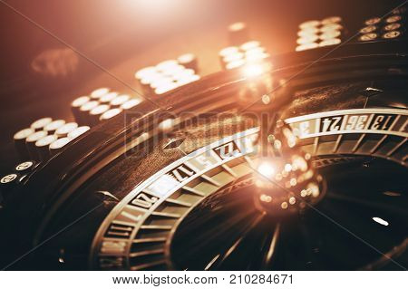 Spinning Roulette Wheel. Las Vegas Roulette Game. Wheel and Chips.
