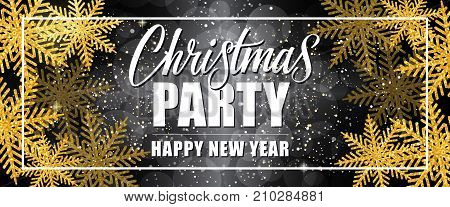 Christmas party Happy New Year lettering in border with golden snowflakes on snow black background. Holiday, celebration, festivity. Party concept. Can be used for greeting cards, posters and brochure