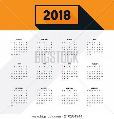 2018 calendar modern design template for a year starts week from Sunday vector illustration