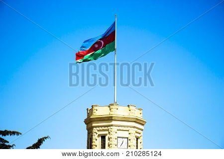 Flag of Azerbaijan on the clock towers