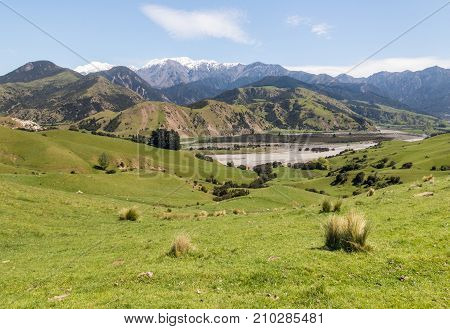 Clarence river valley with Seaward Kaikoura mountains in background, New Zealand