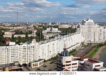 MINSK, BELARUS - AUGUST 15, 2016: Aerial view of the south part of the Minsk with new skyscraper and other buildings near Svislach River. Minsk is the capital and largest city of Belarus.