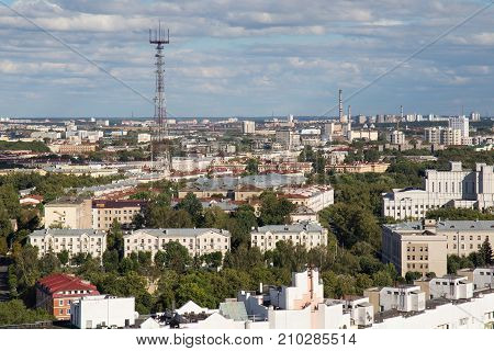 MINSK, BELARUS - AUGUST 15, 2016: Aerial view of the southeastern part of Minsk with old soviet buildings and the Minsk TV Tower (was built in 1956). Minsk is the capital and largest city of Belarus.
