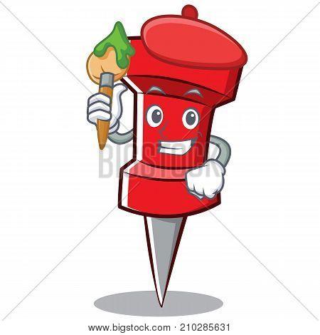 Artist red pin character cartoon vector illustration