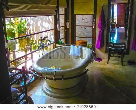 Jimbaran, Bali, Indonesia - April 14, 2014: View of the room at Four Seasons Resort Bali at Jimbaran Bay