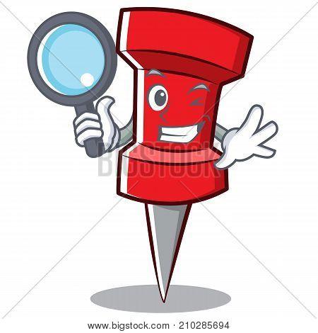 Detective red pin character cartoon vector illustration
