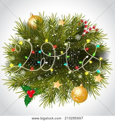 Fairy lights with Christmas wreath, baubles, mistletoe and candy canes. Holiday, celebration, festivity. Party concept. Can be used for greeting card, poster, leaflet and brochure