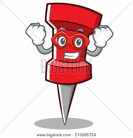 Super hero red pin character cartoon vector illustration