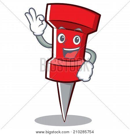 Okay red pin character cartoon vector illustration