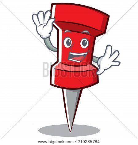 Waving red pin character cartoon vector illustration