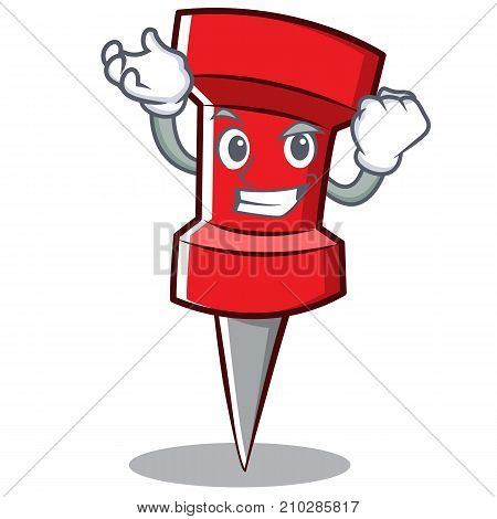 Successful red pin character cartoon vector illustration
