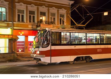 SAMARA, RUSSIA - OCTOBER 12, 2016: Tram 71-405 in Samara city. 71-405 is russian passenger one-sided four-axle high-floor tramcar with an asynchronous traction drive manufactured by Uraltransmash.