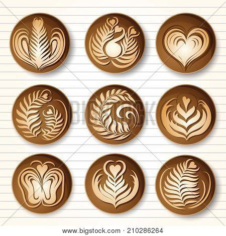 Set of latte art coffee design top viewvector illustration