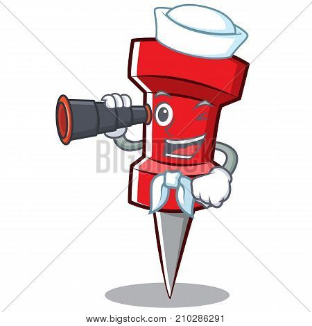 Sailor red pin character cartoon vector illustration