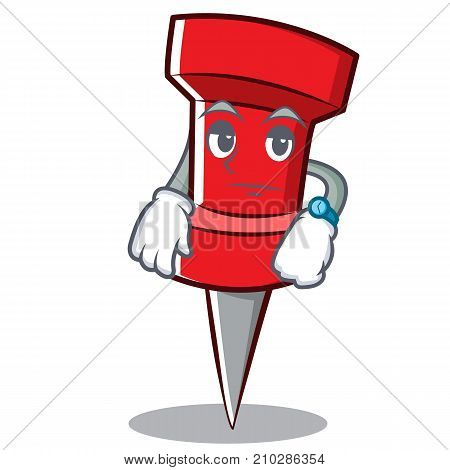 Waiting red pin character cartoon vector illustration