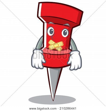 Silent red pin character cartoon vector illustration