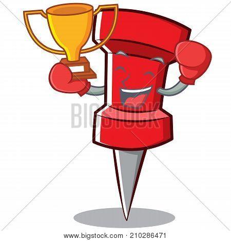 Boxing red pin character cartoon vector illustration
