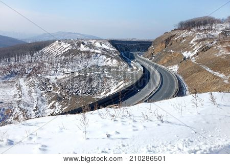 Aerial view of road covered with snow, top view