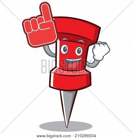 Foam finger red pin character cartoon vector illustration