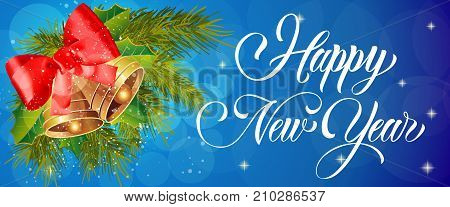 Happy New Year lettering with bells over blue background with bokeh. Holiday, celebration, festivity. Party concept. Can be used for greeting card, poster, leaflet and brochure
