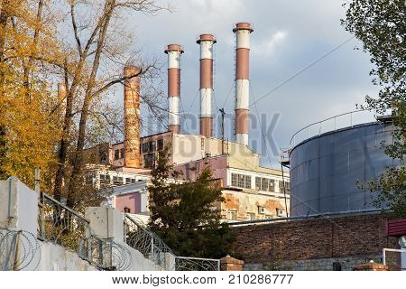 View of the Samara state district power station. Russia. The power plant was put into operation in 1900. The station provides vital activity of the housing of the old part of the city.