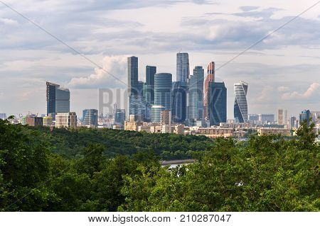 Moscow, Russia - June 12, 2017: Moscow International Business Centre also known as Moscow City from the observation platform on Sparrow Hills