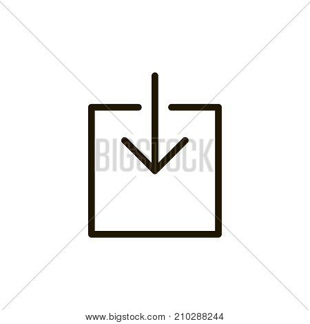 Download icon flat icon. Single high quality outline symbol of button for web design or mobile app. Thin line signs of internet for design logo, visit card, etc. Outline logo of web