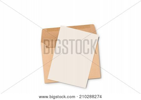 Postcard and Floating Envelope Mockup, blank white flyer postcard invitation isolate on white with clipping path.
