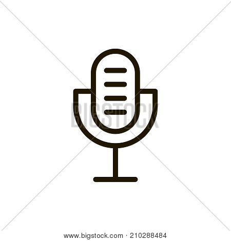 Microphone icon flat icon. Single high quality outline symbol of music for web design or mobile app. Thin line signs of audio for design logo, visit card, etc. Outline logo of speaker