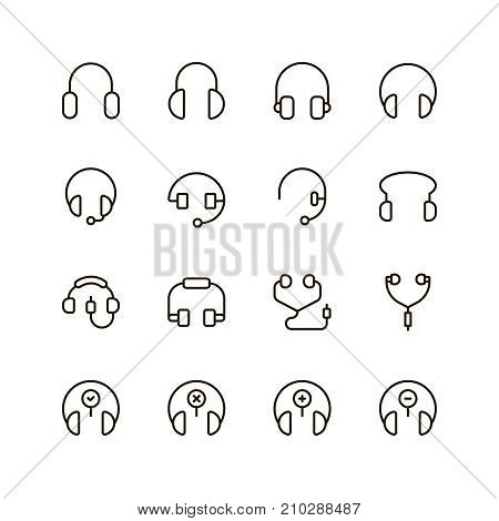 Headphones icon set. Collection of high quality outline headset pictograms in modern flat style. Black music symbol for web design and mobile app on white background. Audio line logo.