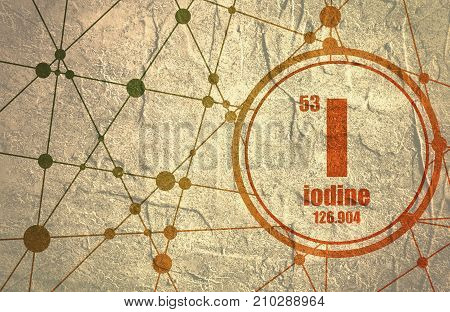 Iodine chemical element. Sign with atomic number and atomic weight. Chemical element of periodic table. Molecule And Communication Background. Connected lines with dots. Distress grunge texture